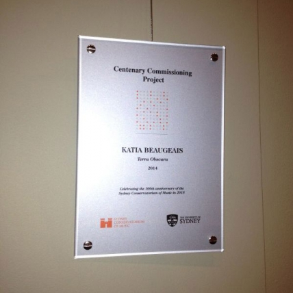 Conservatorium Centenary Commision Award Plaque - On diplay at the entry of the Sydney Conservatorium of Music.