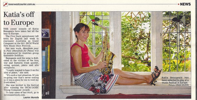 Newspaper article about the premiere of 'Manifesto pour la Paix' at the 2011 ISCM World New Music Days Festival, Croatia. It was the photographer's idea to sit like this on my window sill!
