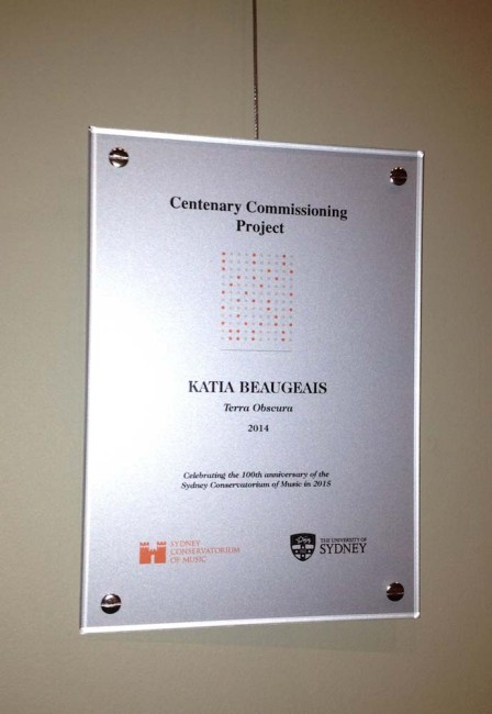 Conservatorium Centenary Commission Award Plaque - On display at the entry of the Sydney Conservatorium of Music.