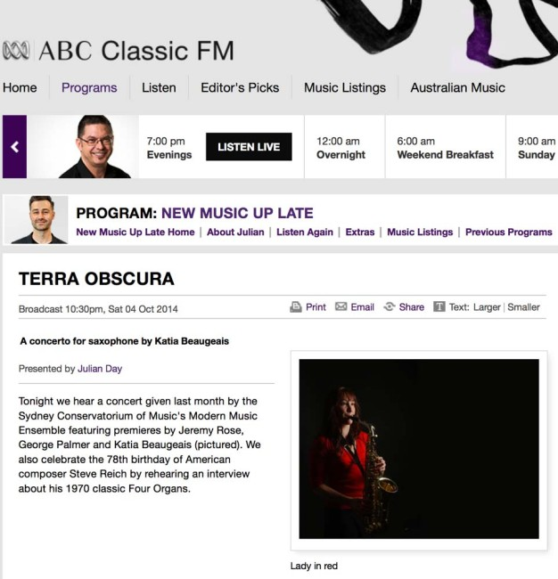 ABC Classic FM broadcast - 4th October 2014