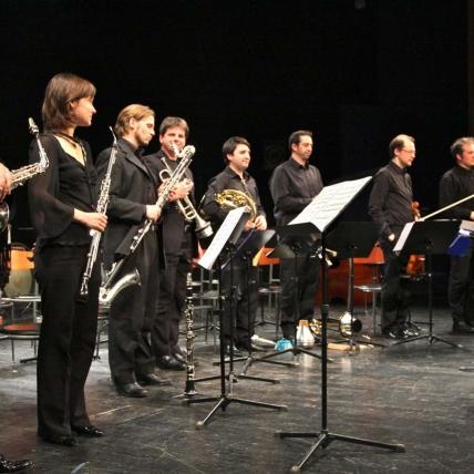 2011 Zagreb Biennale, Closing Ceremony Concert. Ensemble Zeitfluss from Graz, Austria with conductor Edo Micic (far right) following the premiere of 'Manifesto pour la Paix'.