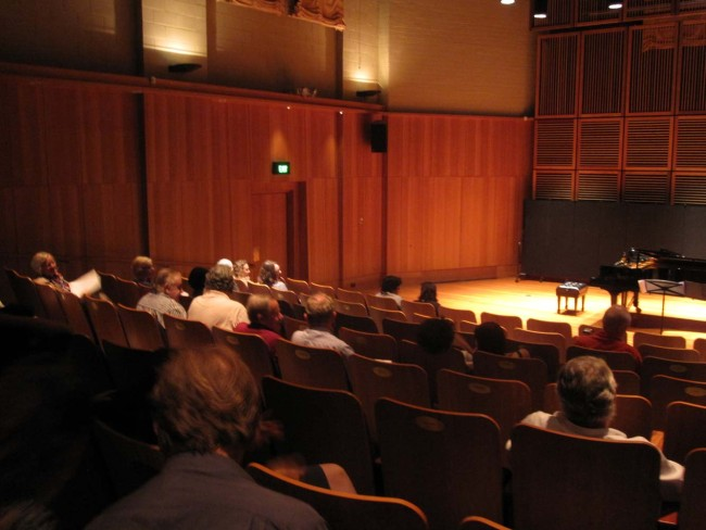 Audience arriving for our Con recital with Phillip Shovk in the beautiful East Recital Hall at the Sydney Conservatorium.