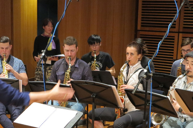 Recording of First Light at Uluru for saxophone orchestra with composer Katia Beaugeais.