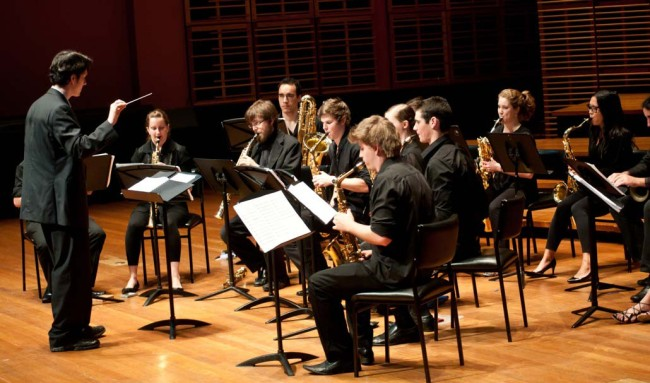 Sydney Conservatorium Saxophone Orchestra performing 'Drifting Memories' with conductor Dr Michael Duke. Verbugghen Hall, Sydney Conservatorium Lunch-time Series. 3 November 2010.