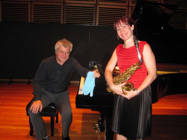 Con Staff Recital with Phillip Shovk & his 'glove' for one my pieces. His turquoise glove was the only one that worked to play my soft string glissando effects inside the piano! Added an extra theatrical element to my 'Turkish Dance' piece.