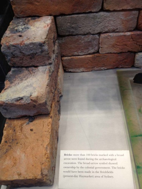 Brickwork discovered during the excavation process. Located in the Atrium of the Sydney Conservatorium of Music.