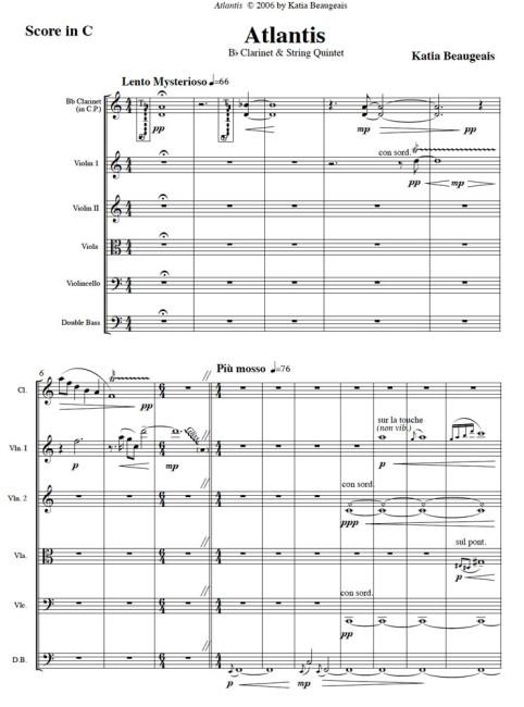 Atlantis for clarinet & string quintet p.1