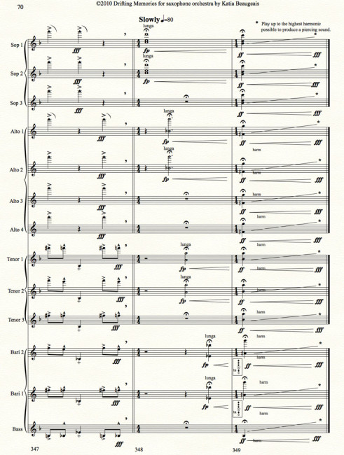 Drifting Memories for saxophone orchestra - last page