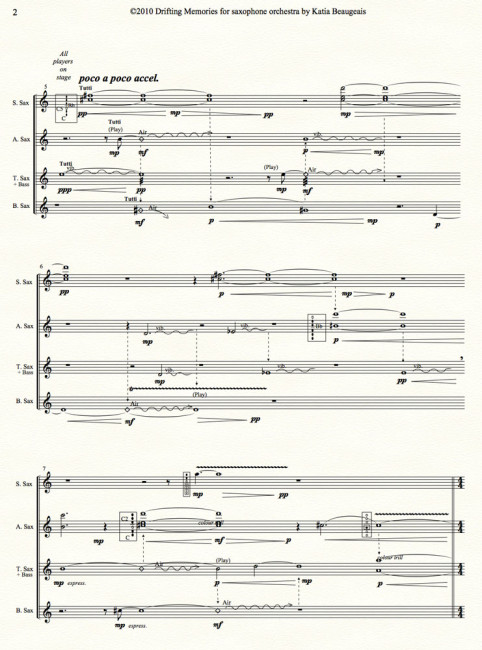 Drifting Memories for saxophone orchestra p.2