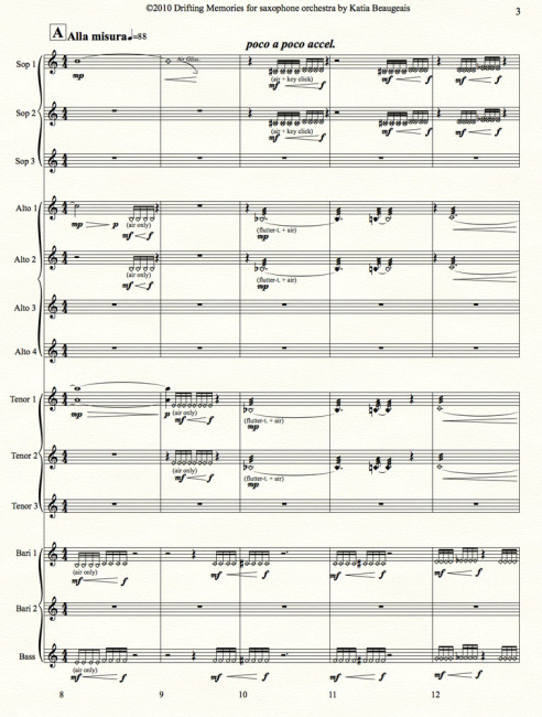 Drifting Memories for saxophone orchestra p.3