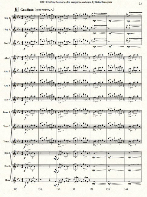 Drifting Memories for saxophone orchestra p.33