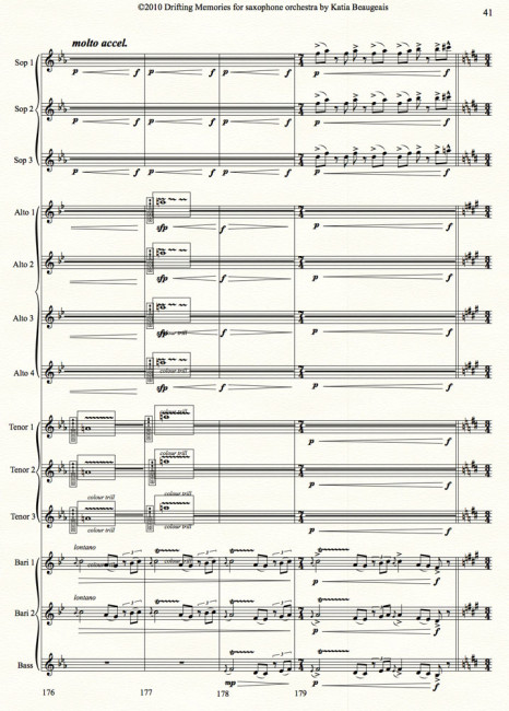 Drifting Memories for saxophone orchestra p.41