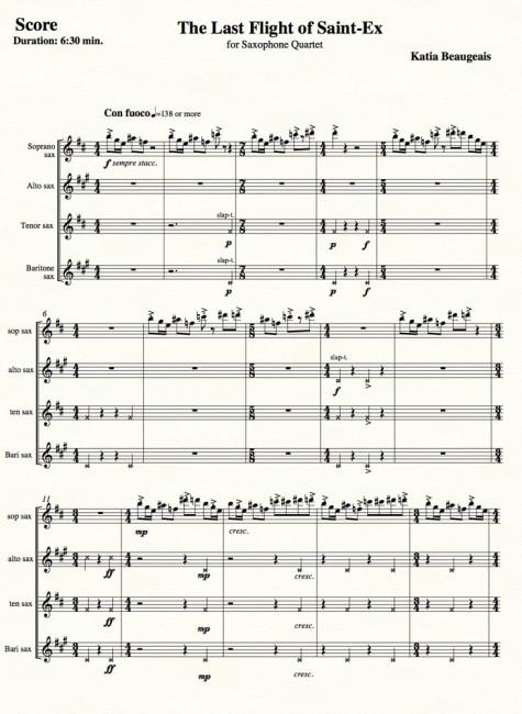 Last Flight of Saint-Ex for Sax Quartet