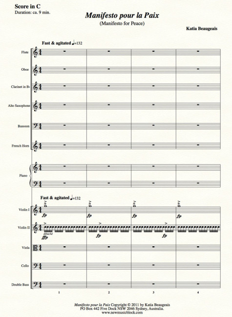 Manifesto pour la Paix for strings, winds, alto sax & piano
