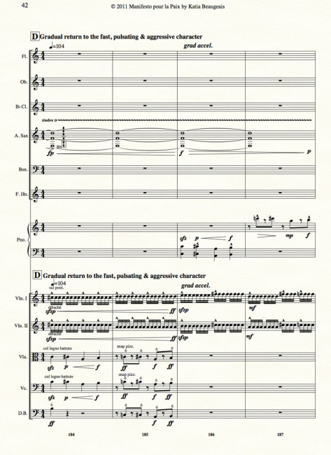 Manifesto pour la Paix for strings, winds, alto sax & piano p.42
