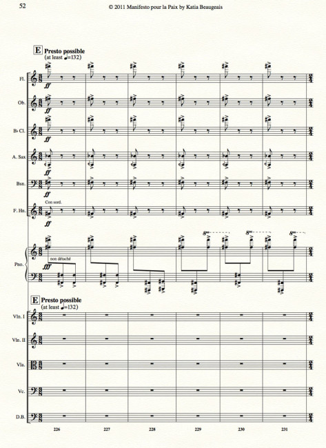 Manifesto pour la Paix for strings, winds, alto sax & piano p.52