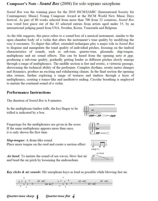 Program Notes - Sound Box for solo soprano sax