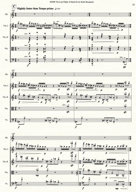Last Flight of Saint-Ex for oboe & string quartet p.13
