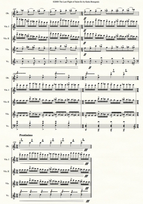 Last Flight of Saint-Ex for oboe & string quartet - last page