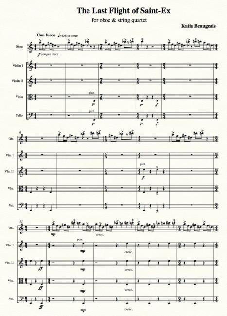 Last Flight of Saint-Ex for oboe & string quartet