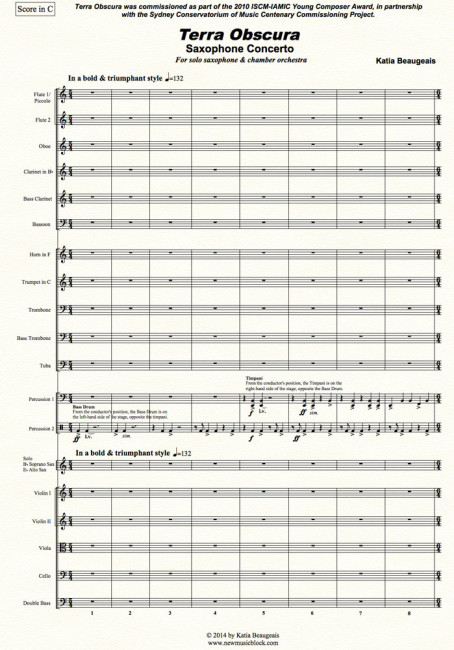Terra Obscura: Concerto for Saxophone for solo saxophone & chamber orchestra