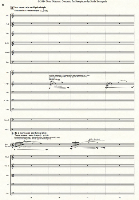 Terra Obscura: Concerto for Saxophone for solo saxophone & chamber orchestra- Movt I p.22