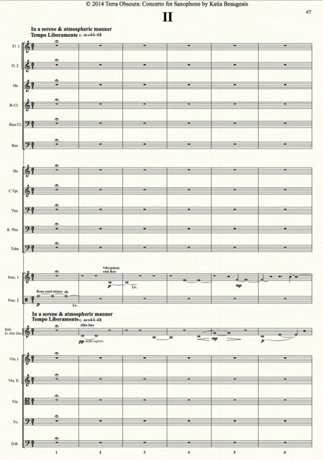Movt II - Terra Obscura: Concerto for Saxophone for solo saxophone & chamber orchestra