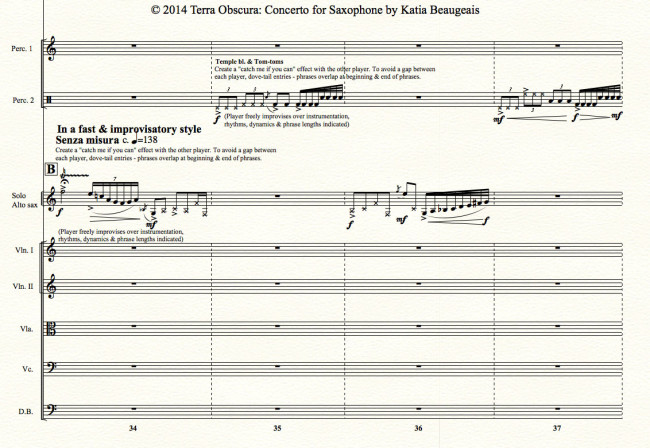 Movt III p.68 - Terra Obscura: Concerto for Saxophone for solo saxophone & chamber orchestra