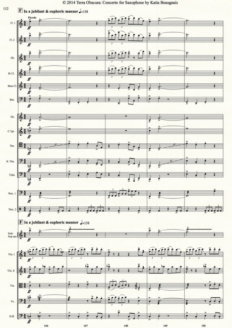 Movt IV p.112 - Terra Obscura: Concerto for Saxophone for solo saxophone & chamber orchestra