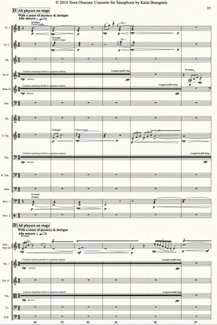 Terra Obscura: Concerto for Saxophone for solo saxophone & chamber orchestra- Movt I p.25