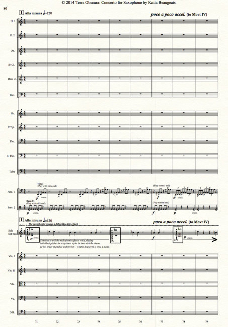 Movt III p.80 - Terra Obscura: Concerto for Saxophone for solo saxophone & chamber orchestra