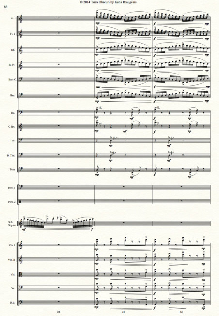 Movt IV p.88 - Terra Obscura: Concerto for Saxophone for solo saxophone & chamber orchestra. Virtuosic sax & orchestra interplay with flute flutter-tonguing and brass rips & glissando effects adds to the climactic finish of the final movement.