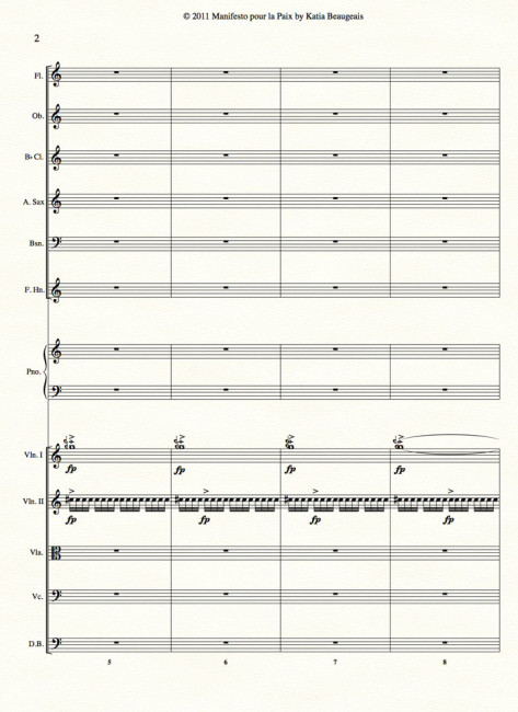 Manifesto pour la Paix for strings, winds, alto sax & piano p.2
