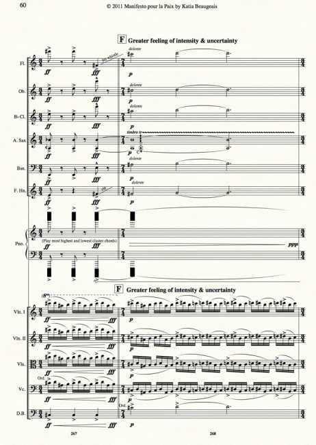Manifesto pour la Paix for strings, winds, alto sax & piano p.60