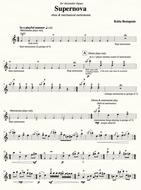 Supernova for solo oboe & metronome