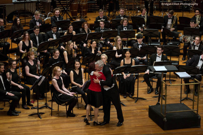 Heartfelt moment with conductor Dr John Lynch - So grateful after a brilliant performance of 'First Light at Uluru' for Wind Symphony.