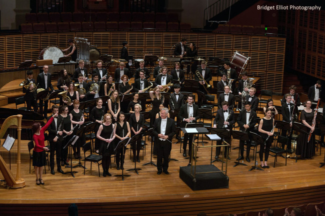 Acknowledging all the extra players in the upper balconies - 'First Light at Uluru' Wind Symphony premiere.