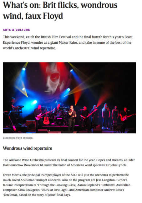 News Publicity: Second performance of First Light at Uluru for Wind Symphony in Adelaide.