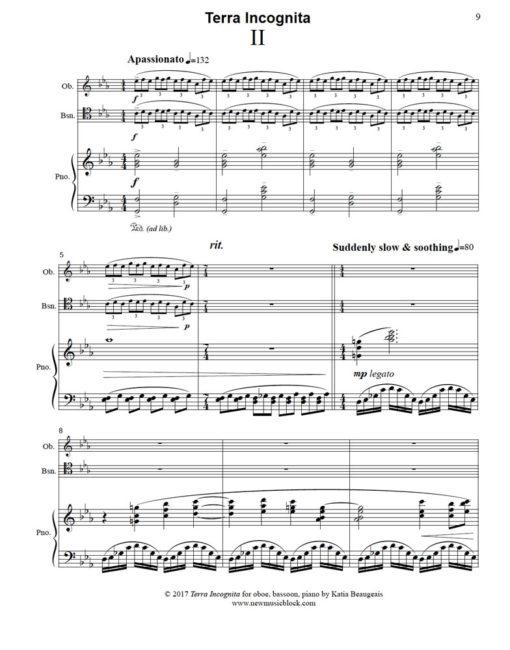 Terra Incognita for oboe, bassoon, piano. Movt II, p.9.