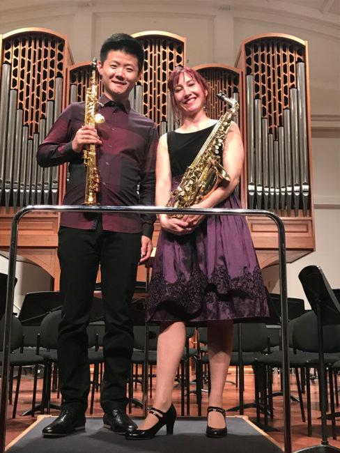 Performance of Katia Beaugeais's Verti-GO! by Beaugeais & Netherlands saxophonist, Yo Yo Su.