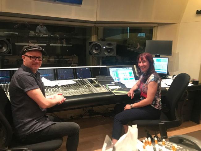 Trackdown Studios sound engineer - Evan McHugh with Composer – Katia Beaugeais.