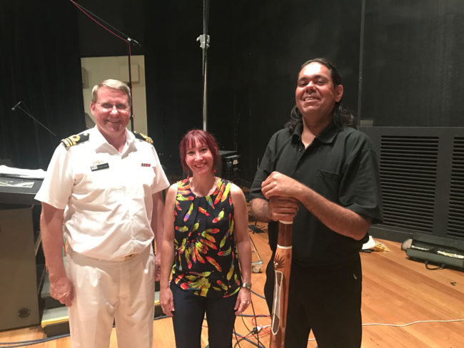 Lieutenant Commander, Director – Dr Steven Stanke, Composer – Katia Beaugeais, Didgeridoo player – William Barton.