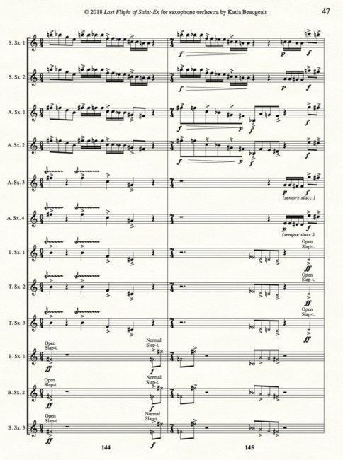 Katia Beaugeais 'Last Flight of Saint-Ex' for saxophone orchestra p.47.