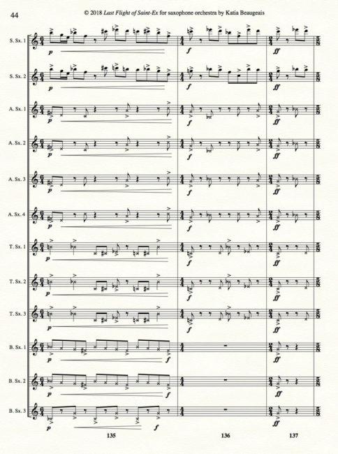 Katia Beaugeais 'Last Flight of Saint-Ex' for saxophone orchestra p.44.