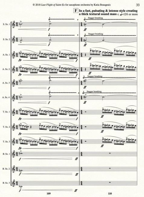Katia Beaugeais 'Last Flight of Saint-Ex' for saxophone orchestra p.33