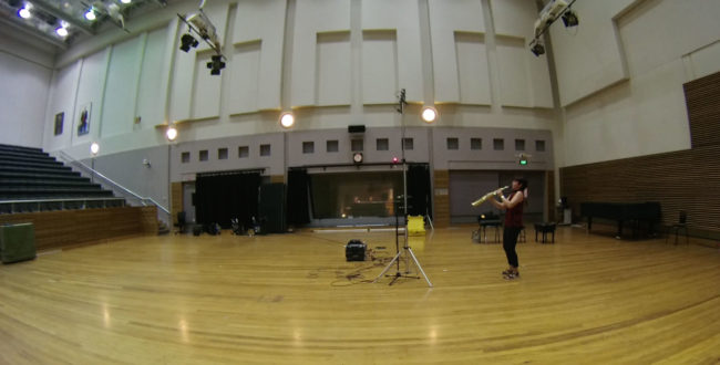 Katia Beaugeais recording at ABC Eugene Goossens Hall, Sydney.