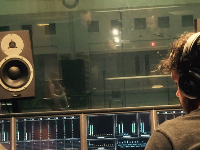 Katia Beaugeais recording with ABC sound engineer Andrew Edgson.