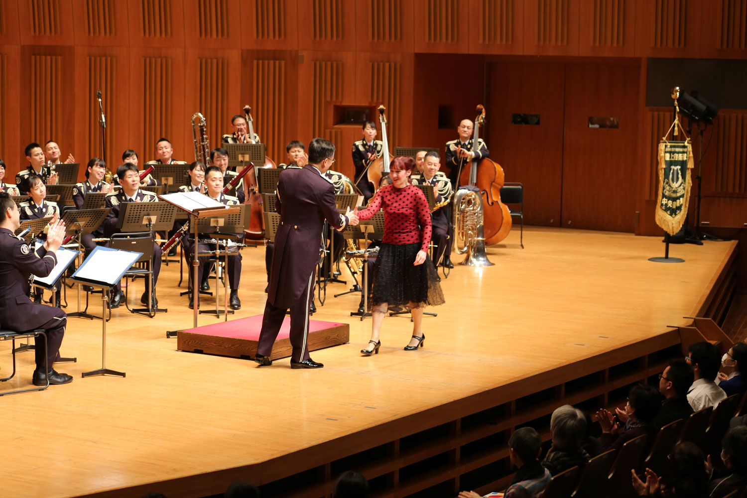 Katia Beaugeais with Commander & Conductor Colonel Takahiro Higuchi and Japan Ground Self Defense Force Central Band - Tokyo Metropolitan Theatre Concert Hall