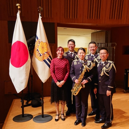 Beaugeais with the saxophonists of the Japan Ground Self Defense Force Central Band